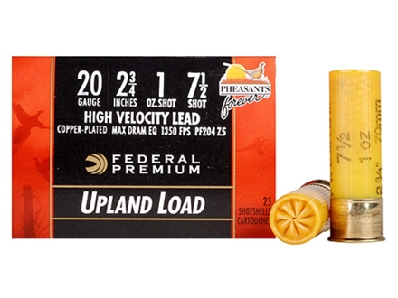 "Federal Premium Wing-Shok Pheasants Forever Ammunition 20 Gauge 2-3/4"" 1 oz Buffered #7-1/2 Copper Plated Shot Box of 25"