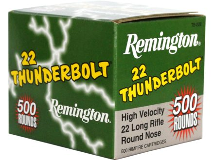 Remington Thunderbolt Ammunition 22 Long Rifle 40 Grain Lead Round Nose Box of 500 (Bulk)