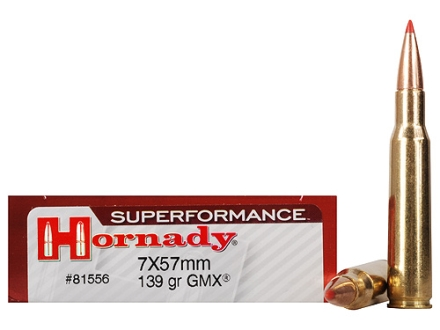 Hornady SUPERFORMANCE GMX Ammunition 7x57mm Mauser (7mm Mauser) 139 Grain Gilding Metal Expanding Boat Tail Lead-Free Box of 20