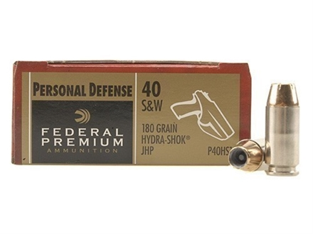 Federal Premium Personal Defense Ammunition 40 S&W 180 Grain Hydra-Shok Jacketed Hollow Point Box of 20