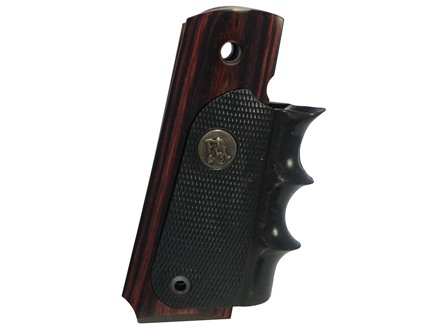 Pachmayr American Legend Grip with Finger Grooves 1911 Government, Commander Rosewood with Rubber Wraparound