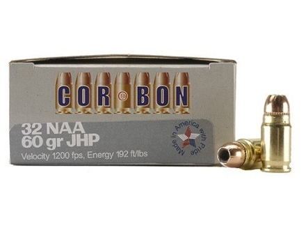 Cor-Bon Self-Defense Ammunition 32 North American Arms (NAA) 60 Grain Jacketed Hollow Point Box of 20