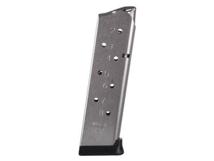 Metalform Magazine Pro Series 1911 Government, Commander 45 ACP 8-Round Stainless Steel Matte Round Follower Ultramag Base