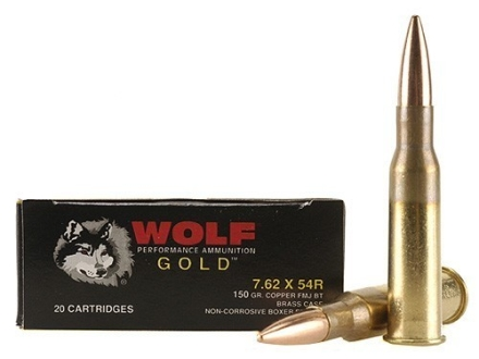 Wolf Gold Ammunition 7.62x54mm Rimmed Russian 150 Grain Full Metal Jacket Box of 20