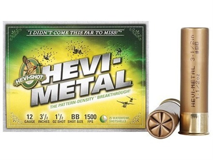 "Hevi-Shot Hevi-Metal Waterfowl Ammunition 12 Gauge 3-1/2"" 1-1/2 oz BB Hevi-Metal Non-Toxic"