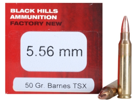 Black Hills Ammunition 5.56x45mm NATO 50 Grain Barnes Triple-Shock X Bullet Hollow Point Lead Free Box of 50