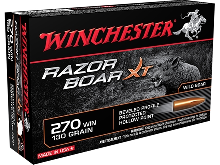 Winchester Razorback XT Ammunition 270 Winchester 130 Grain Hollow Point Lead-Free