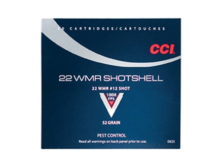 CCI Shotshell Ammunition 22 Winchester Magnum Rimfire (WMR) 52 Grain #12 Shot Box of 20