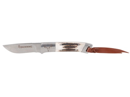 "Browning Lil' Bit Large Fixed Blade Knife 3.25"" Drop Point Sandvik 12C27 Stainless Steel Blade Genuine Stag Handle"