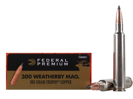 Federal Premium Vital-Shok Ammunition 300 Weatherby Magnum 180 Grain Trophy Copper Tipped Boat Tail Lead-Free Box of 20