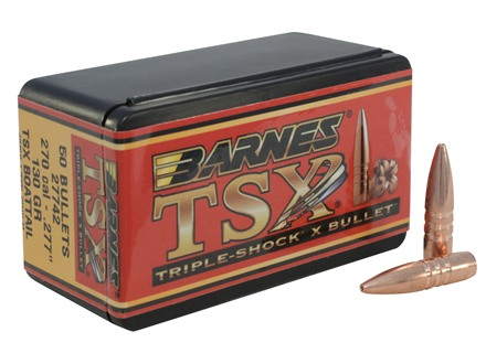 Barnes Triple-Shock X Bullets 270 Caliber (277 Diameter) 130 Grain Hollow Point Boat Tail Lead-Free Box of 50
