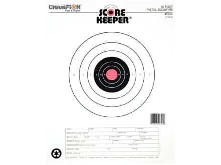 "Champion Score Keeper 50 Ft Slow Fire Pistol Targets 11"" x 16"" Paper Orange Bull Package of 12"