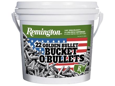Remington Golden Bullet Ammunition 22 Long Rifle 36 Grain Plated Lead Hollow Point
