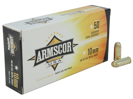 Armscor Ammunition 10mm Auto 180 Grain Full Metal Jacket Box of 50