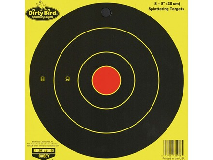 "Birchwood Casey Dirty Bird Chartreuse 8"" Bullseye Targets Package of 8"