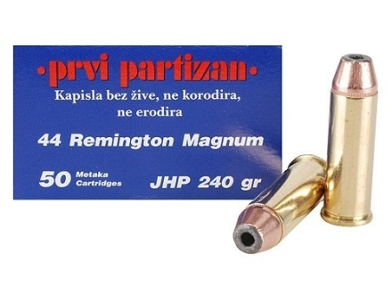 Prvi Partizan Ammunition 44 Remington Magnum 240 Grain Jacketed Hollow Point Box of 50