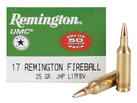 Remington UMC Ammunition 17 Remington Fireball 25 Grain Jacketed Hollow Point Box of 50