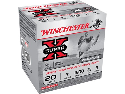 "Winchester Xpert High Velocity Ammunition 20 Gauge 3"" 7/8 oz #2 Non-Toxic Plated Steel Shot"