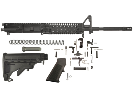 "Del-Ton M4 Carbine Kit AR-15 5.56x45mm NATO 1 in 7"" Twist 16"" Chrome Lined Barrel Upper Assembly, Lower Parts Kit, M4 Collapsible Buttstock Pre-Ban"
