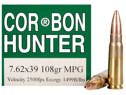 Cor-Bon Ammunition 7.62x39mm 108 Grain Barnes Multi-Purpose Green (MPG) Hollow Point Lead-Free Box of 20
