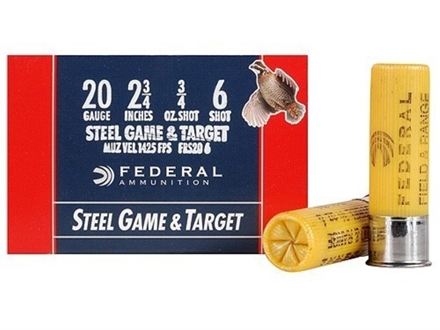 "Federal Game & Target Ammunition 20 Gauge 2-3/4"" 3/4 oz #6 Non-Toxic Steel Shot Box of 25"