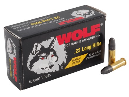 Wolf Match Extra Ammunition 22 Long Rifle 40 Grain Lead Round Nose Box of 500 (10 Boxes of 50)