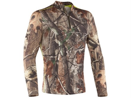 Under Armour Men's EVO Scent Control 1/4 Zip Base Layer Shirt Long Sleeve Polyester Realtree AP Camo Large 41-43