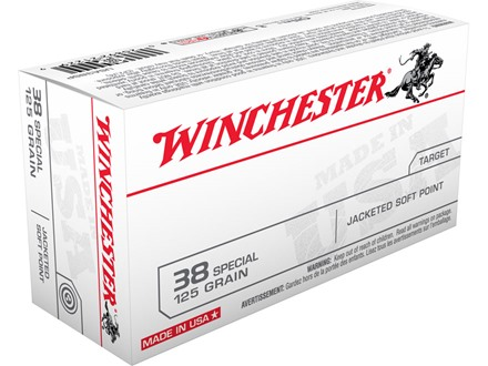Winchester USA Ammunition 38 Special 125 Grain Jacketed Flat Nose