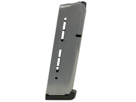 Wilson Combat Magazine with Base Pad 1911 Government, Commander 40 S&W 9-Round Stainless Steel