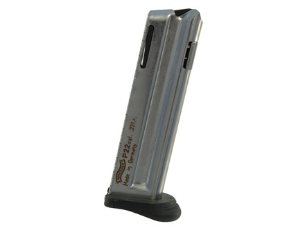 Walther Magazine P22 Old-Style 22 Long Rifle 10-Round Steel Nickel Plated with Finger Rest
