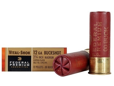 "Federal Premium Vital-Shok Ammunition 12 Gauge 2-3/4"" Buffered 00 Copper Plated Buckshot 12 Pellets Box of 5"