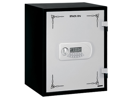 Stack-On Fire Resistant Personal Safe Electronic Lock Black with White Door