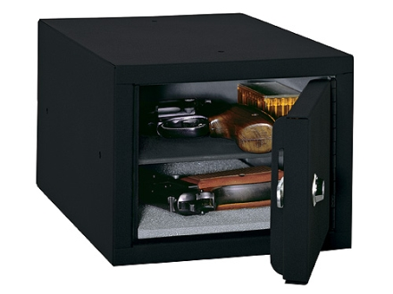 Stack-On Steel Pistol Box with Removable Shelf Black
