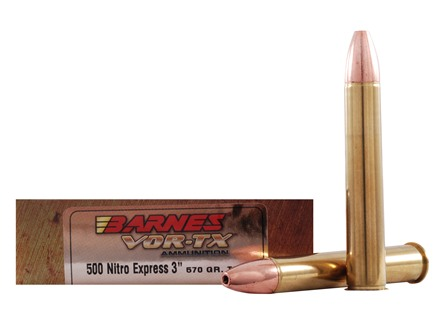 Barnes VOR-TX Safari Ammunition 500 Nitro Express 570 Grain Triple-Shock X Bullet Flat Base Box of 20