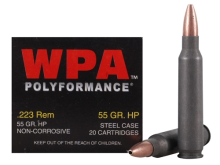 Wolf Ammunition 223 Remington 55 Grain Jacketed Hollow Point (Bi-Metal) Steel Case