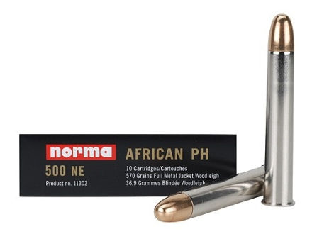 "Norma African PH Ammunition 500 Nitro Express 3"" 570 Grain Woodleigh Full Metal Jacket Box of 10"