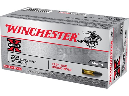 Winchester Super-X Ammunition T22 Target 22 Long Rifle 40 Grain Lead Round Nose
