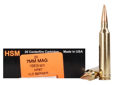 HSM Trophy Gold Ammunition 7mm Remington Magnum 168 Grain Berger Hunting VLD Hollow Point Boat Tail Box of 20