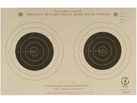 NRA Official Smallbore Rifle Training Target TQ-3/2 50 Yard Tagboard Package of 100