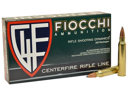 Fiocchi Shooting Dynamics Ammunition 223 Remington 55 Grain Pointed Soft Point