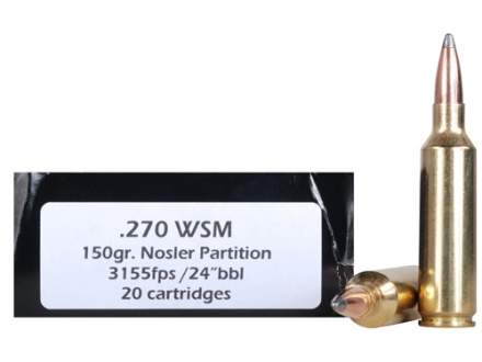 Doubletap Ammunition 270 Winchester Short Magnum (WSM) 150 Grain Nosler Partition Spitzer Box of 20