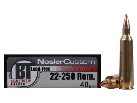 Nosler Trophy Grade Ammunition 22-250 Remington 40 Grain Ballistic Tip Lead-Free Box of 20