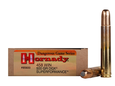 Hornady Dangerous Game SUPERFORMANCE Ammunition 458 Winchester Magnum 500 Grain Flat Nose Expanding Box of 20