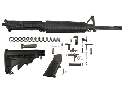 "Del-Ton Mid-Length Carbine Kit AR-15 5.56x45mm NATO 1 in 7"" Twist 16"" Chrome Lined Barrel Upper Assembly, Lower Parts Kit, M4 Collapsible Buttstock Pre-Ban"
