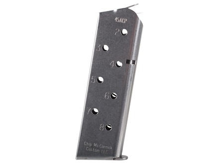 Chip McCormick Match Grade Magazine 1911 Government, Commander 45 ACP 8-Round Stainless Steel