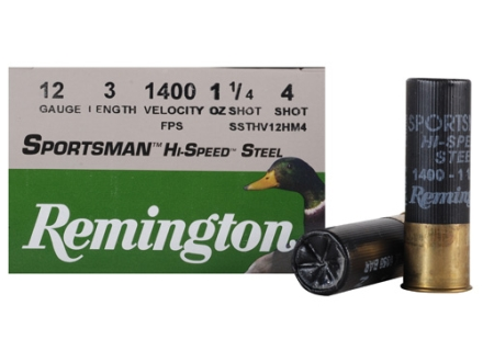 "Remington Sportsman Hi-Speed Ammunition 12 Gauge 3"" 1-1/4 oz #4 Non-Toxic Steel Shot"