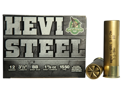 "Hevi-Shot Hevi-Steel Waterfowl Ammunition 12 Gauge 3-1/2"" 1-3/8 oz BB Non-Toxic Shot"