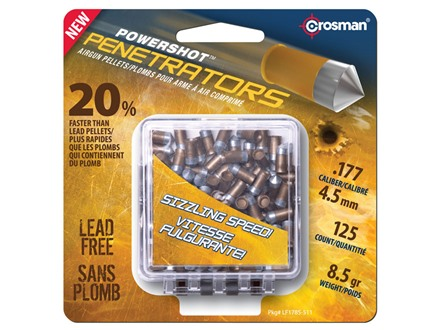 Crosman Gold Flight Penetrators Airgun Pellets 177 Caliber 8.5 Grain Polymer Wrapped Package of 125