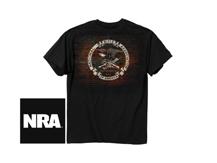 NRA Men's Amendment Logo T-Shirt Short Sleeve Cotton Black Large