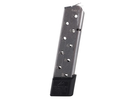 Chip McCormick Power Mag Magazine with Base Pad 1911 Government, Commander 45 ACP 10-Round Stainless Steel